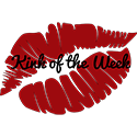 "The Kink of the Week badge, which is a red lipstick print with the words ""Kink of the Week"" on it"