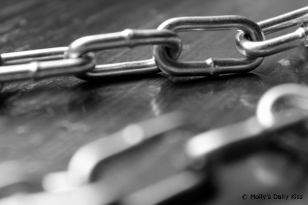 Close up photograph of chains