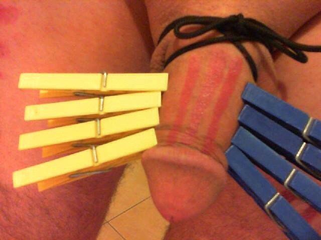 Cock and ball torture pegs on penis