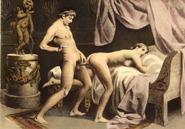 Édouard Henri Avril art depicting anal sex between a man and a woman